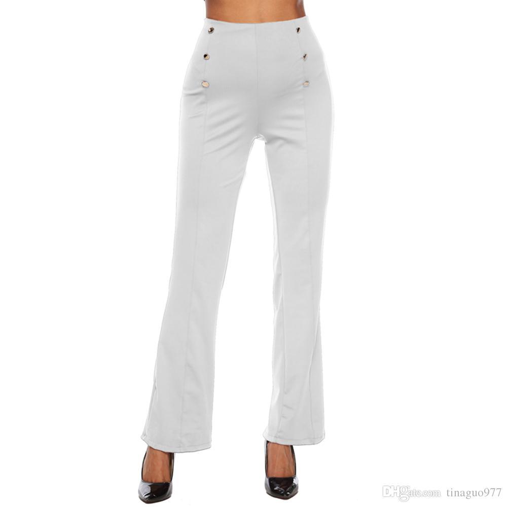 db6700188823 Pantalones de cintura alta para mujer Botones laterales de pierna ancha  Pantalones de vestir con cremallera Volver Blanco Negro Vino Rojo Azul S-XXL