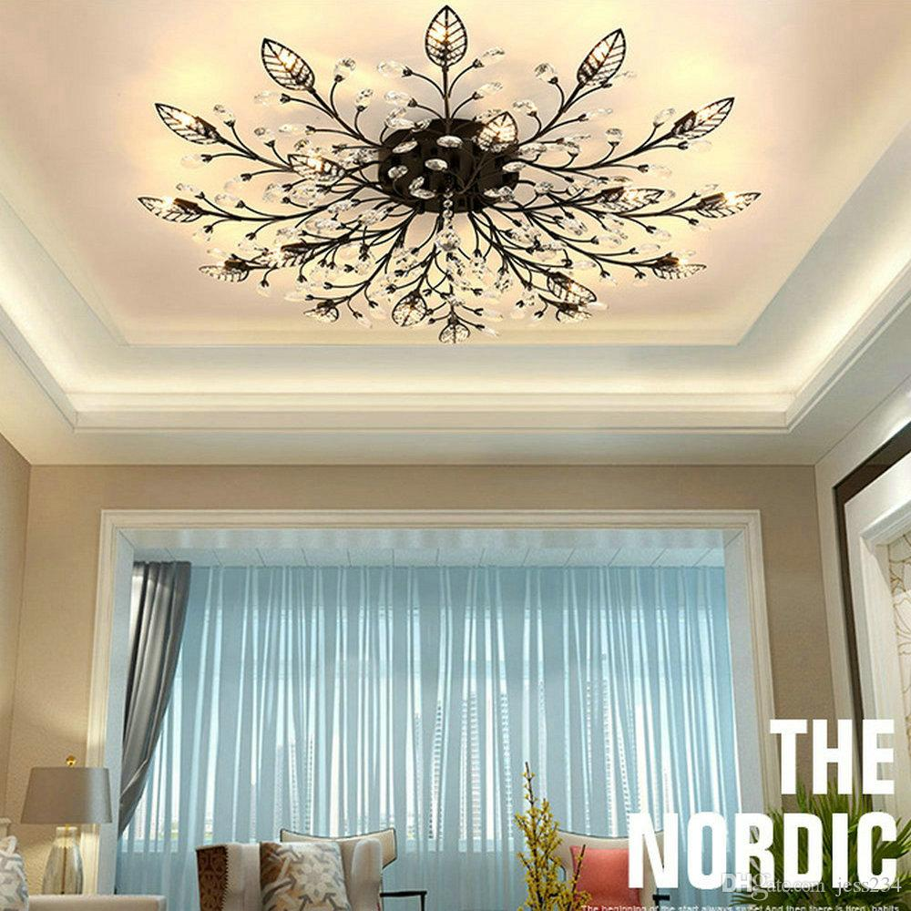 Jess modern flush mount home gold black led k9 crystal ceiling chandelier lights fixture for living room bedroom kitchen lamps