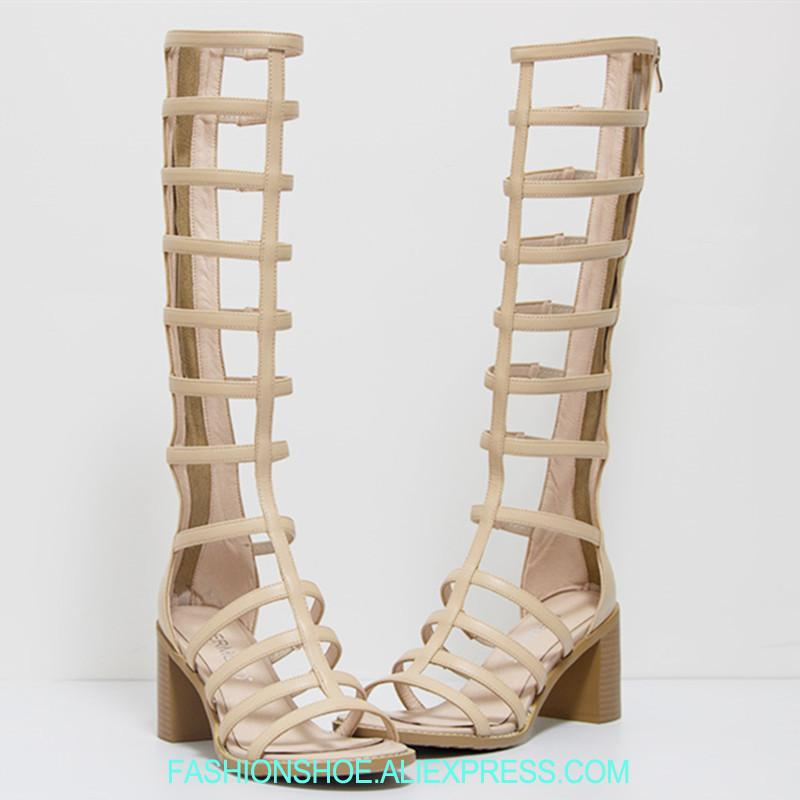 3daa705fb31 Nude Black Knee High Gladiator Sandals Boots Chunky Heel Cage Summer Boots  Open Toe Cutout High Quality Rome Leather Sandalias Slipper Boots Ankle  Booties ...