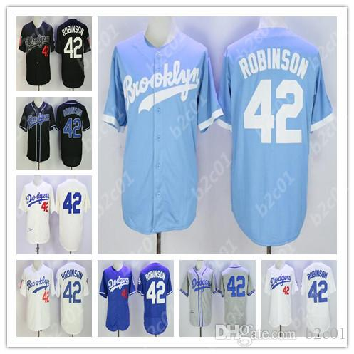 separation shoes f6450 6b326 Brooklyn LA Dodgers #42 Jackie Robinson Jersey White Black Blue Stitched  jerseys