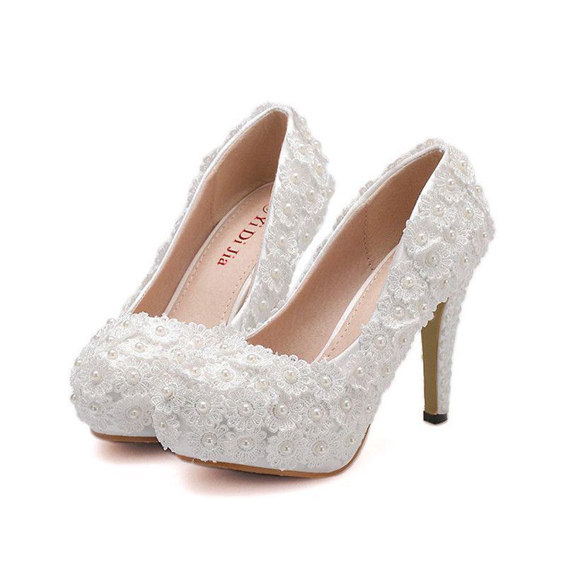 f1c2df6861 White Lace Pumps Women High Heels Platform Shoe Fashion Sweet Pearls Flower  Wedding Shoes Bride Dress Shoes Woman High Heel