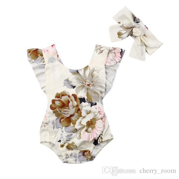 2019 new floral baby girls romper flower printed ruffle sleeve kids jumpsuit + bow headband summer children onesie toddler clothes C5391