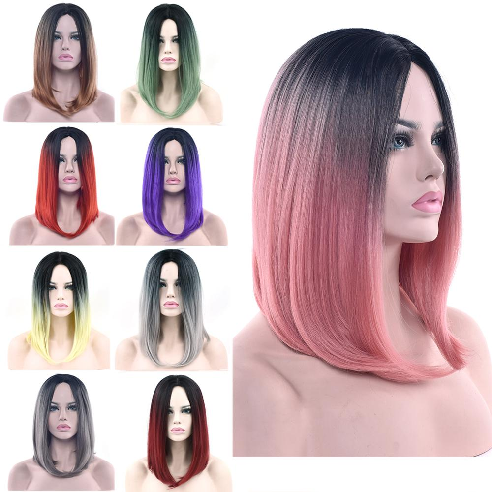 Hair Extensions & Wigs Ombre Color Brazilian Remy Hair Highlight Red Color 4 Inch Short Bob Human Hair Wigs For Women Straight Human Hair Wig Eq Hair