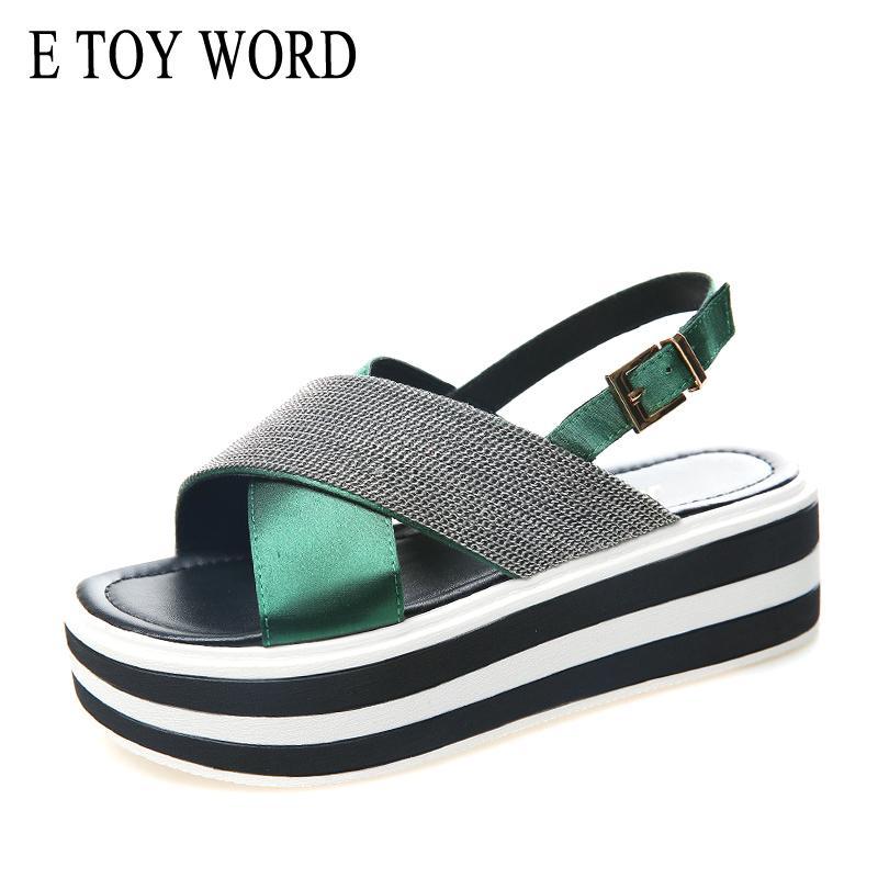 432a6c9a Compre E TOY WORD Sandalias De Plataforma Para Mujer Verano 2019 Nueva  Punta Abierta Cruzada Para Mujer Sandalias Retro Zapatos De Mujer Romanos  Ocasionales ...