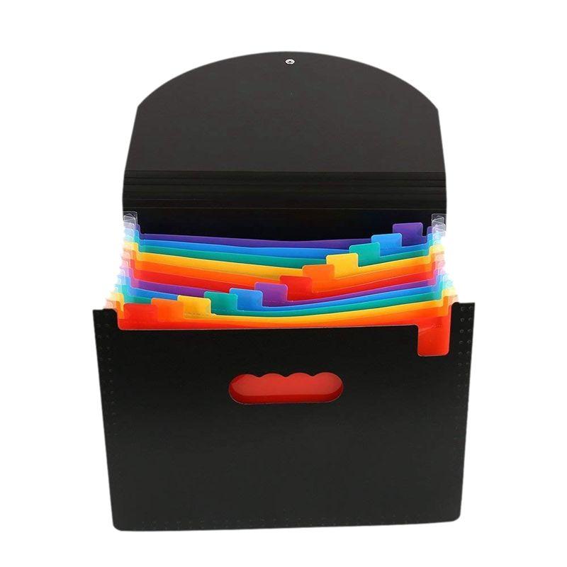 f3964cdb4579 13 Pockets Expanding Files Folder A4 Expandable Portable File  organizerMulticolour Stand Plastic Business File Organizer Box