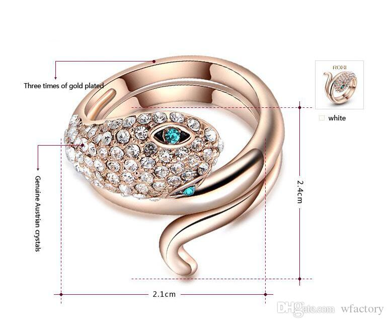 Top Quality luxury womens Snake Rings - Fashion Rose Gold Tone Austria crystal designer Ring Jewelry For Women lady Wholesale