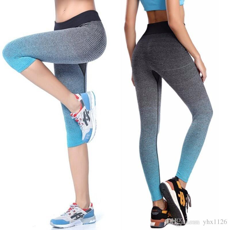 bca0856966dbb 2019 2017 Women Yoga Sport Leggings Summer Capri Pants For Running Fitness  Gym Clothes Elastic Capris Gym Athletic Sports Leggings #945912 From  Yhx1126, ...
