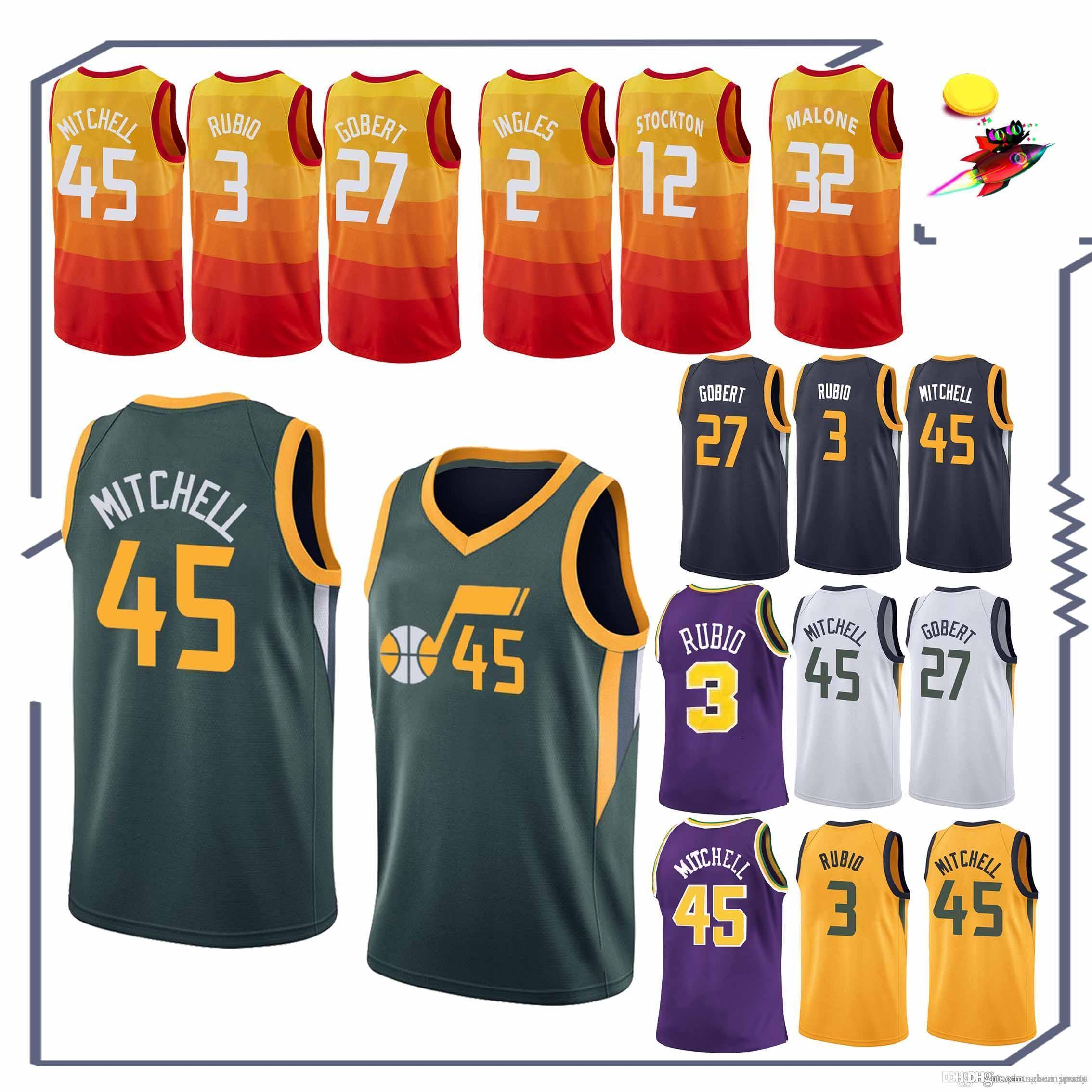 low priced d5407 81411 Utah jerseys 45 Donovan Mitchell 3 Ricky Rubio 24 Grayson Allen 2 Joe  Ingles 27 Rudy Gobert tracksuit jersey