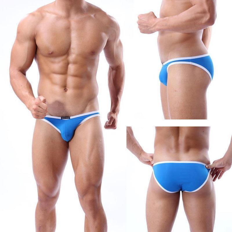 En kaliteli Erkekler İki Parça ayırır Seksi basitlik dikişsiz iç giyim pantolon külot U dışbükey kese tanga kilot
