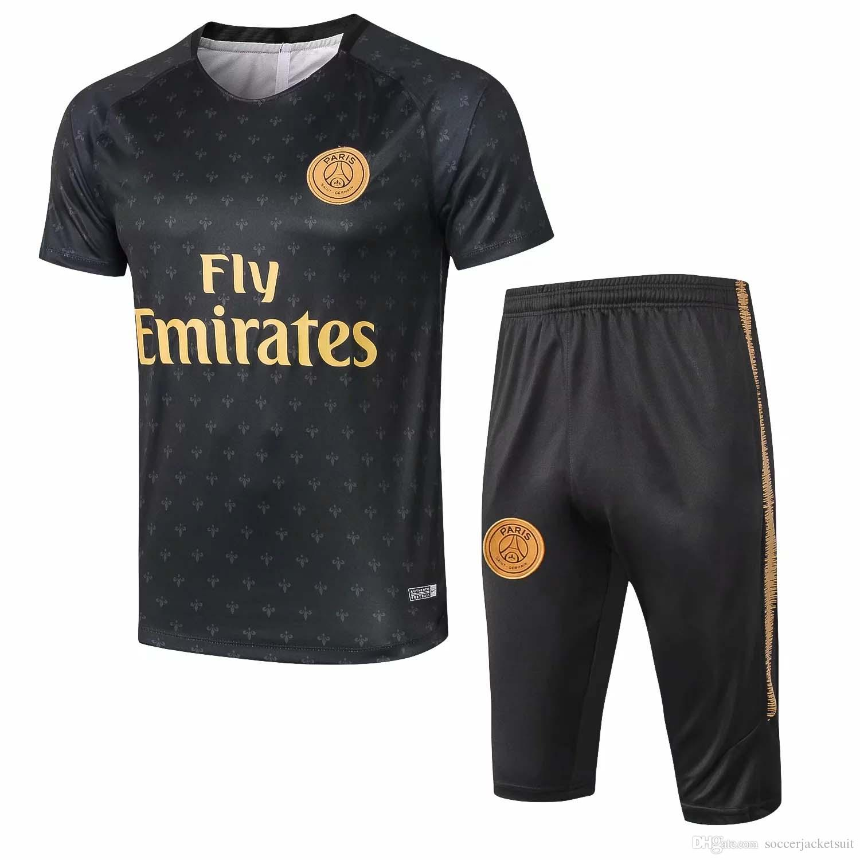 the best attitude ca1e3 1a783 Ton new 18 19 new season PSG Short sleeve tracksuits suit MBAPPE soccer  jersey CAVANI training suit VERRATTI maillot de foot
