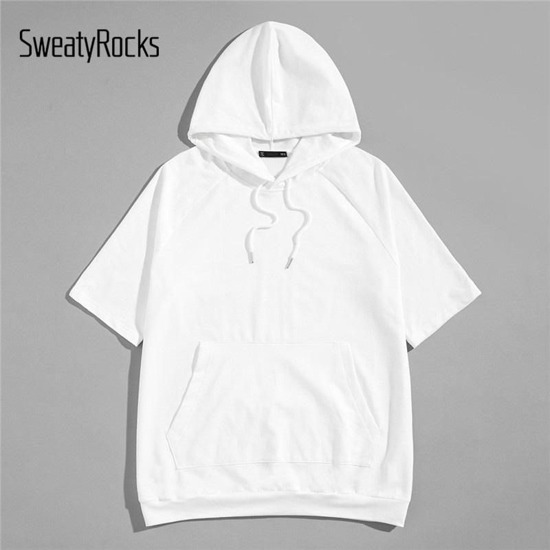 5a91d853b SweatyRocks Men Drawstring Hoodie Tunic Tee Streetwear Short Sleeve Mens  White Hoodies 2019 Summer Casual Pullover Sweatshirt