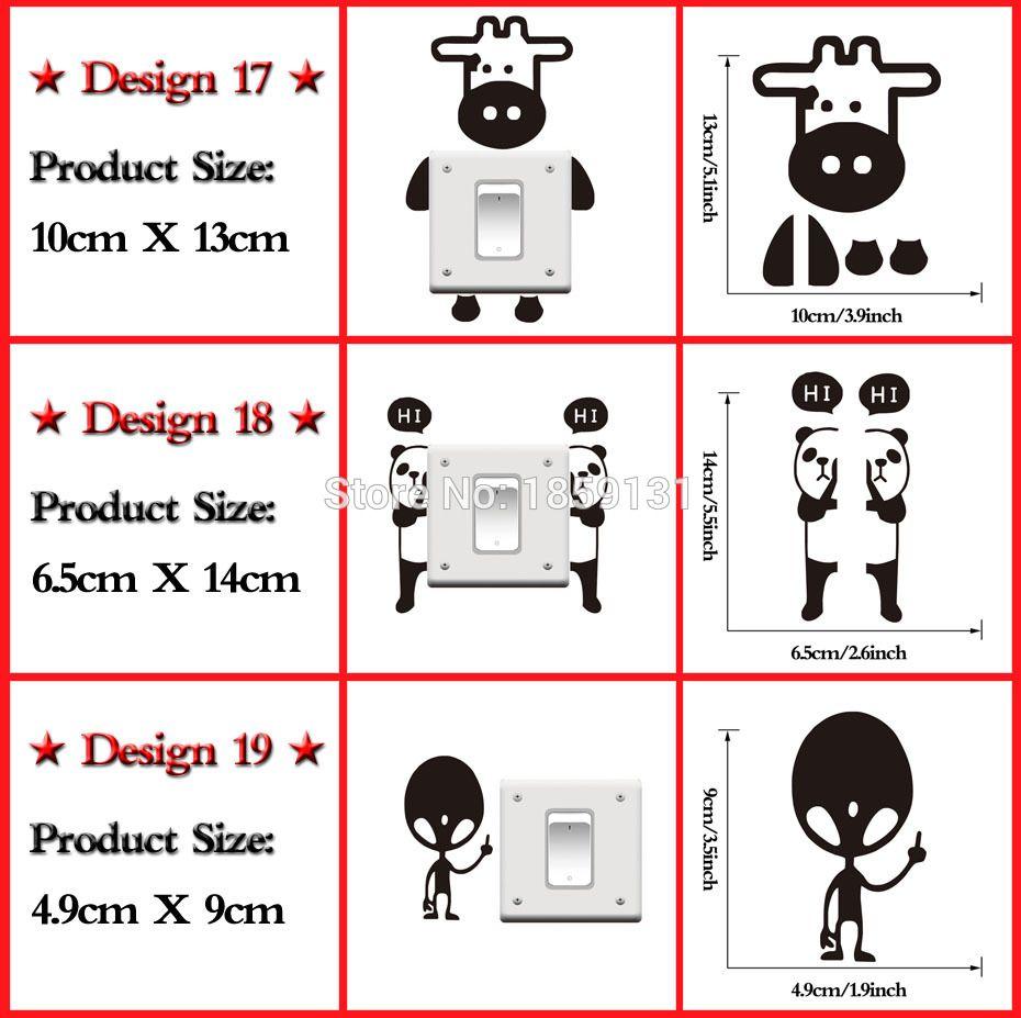 DIY 웃긴 귀여운 고양이 개 블랙 스위치 벽 스티커 만화 동물의 벽 스티커 홈 인테리어 침실 거실 장식