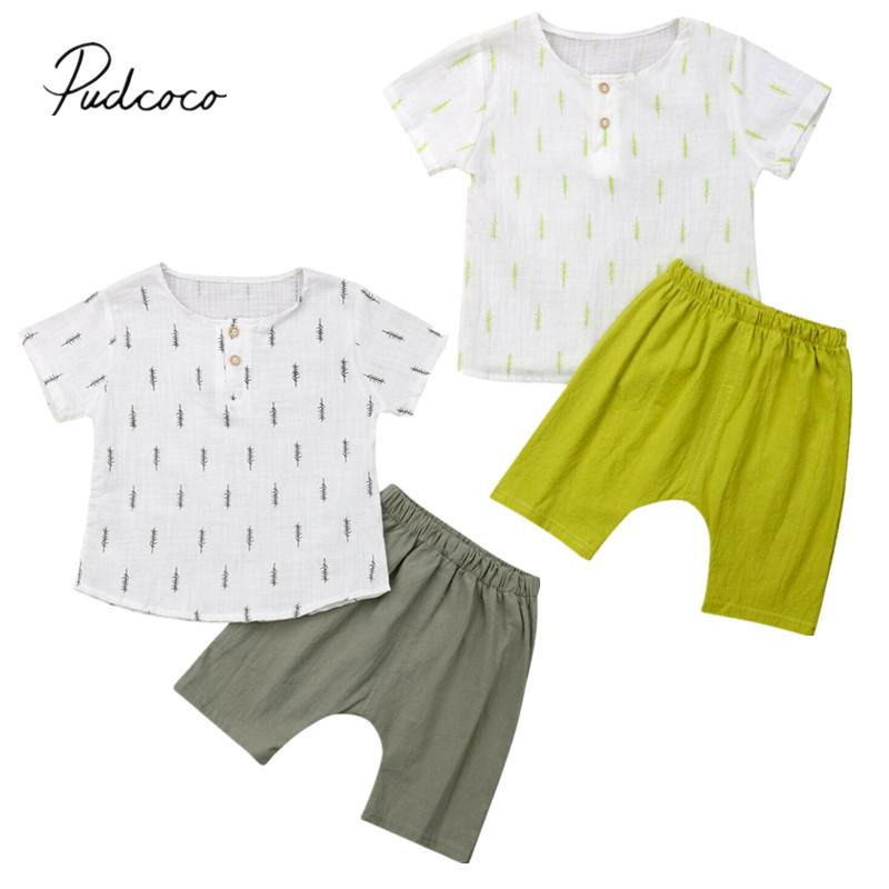 68de7d384 2019 Children Summer Clothing Toddler Boys 2pcs Sets T-shirt Tops Tee+Shorts  Pants Outfits Kids Cotton Linen Casual Clothes