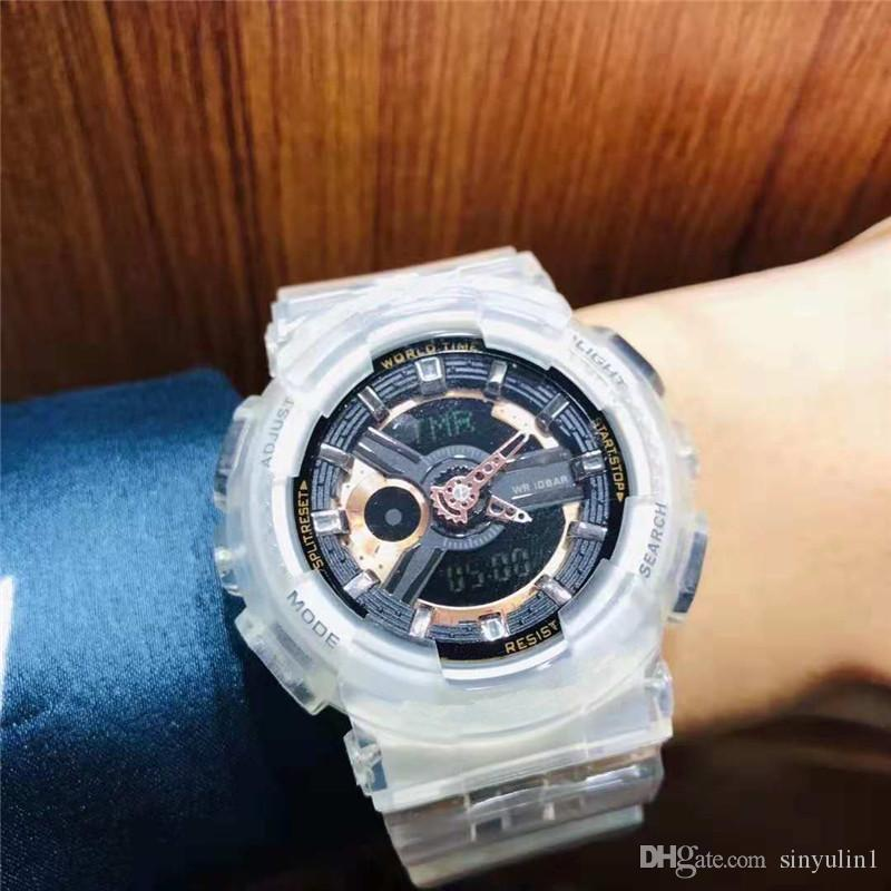 Mens Women Transparent Rubber Watches 2019 Fashion New Arrival Product Outdoor Mens Sports Alarm Digital G Style Wristwatch Shock Clock Gift