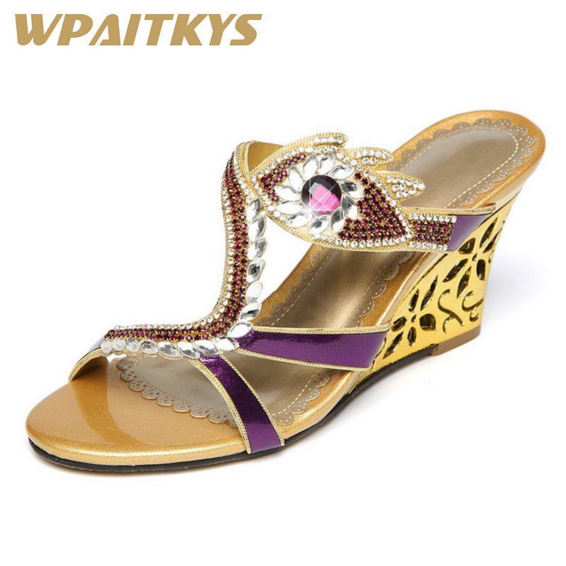 23e422c35 Fashion Elegant Women Crystal Sandals Porcelain Golden Purple Blue Three Colors  Rhinestone Leather Casual Shoes Women Present Designer Shoes White Shoes ...