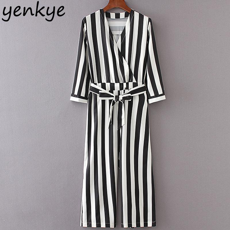 5ed789c5b38 2019 2018 Women Vintage Striped Jumpsuit Sexy Cross V Neck Three Quarter  Sleeve With Belt Elegant Jumpsuits Lady Casual Overalls Long Y1891808 From  ...
