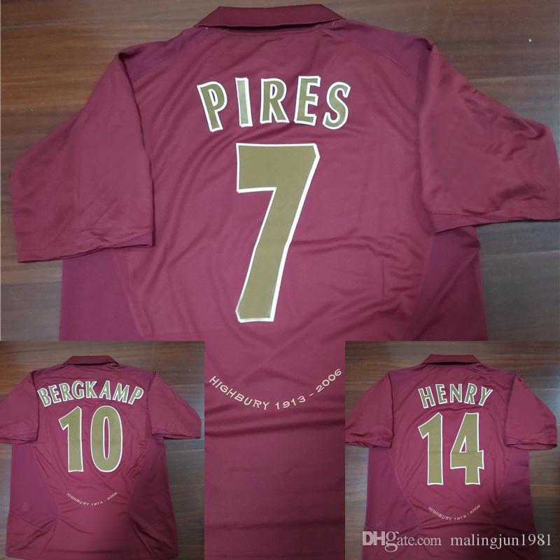 e1fe27ebeef 2019 Velvet Name Number 05 06 Highbury Bergkamp V.Persie Henry Pires Football  Shirts Vintage Retro Soccer Jersey 2005 2006 Maillot MAGLIA Camisa From ...