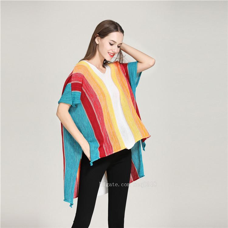 9e343799b9b 2018 Hot New European And American Rainbow Stripes V-neck Sweater ...