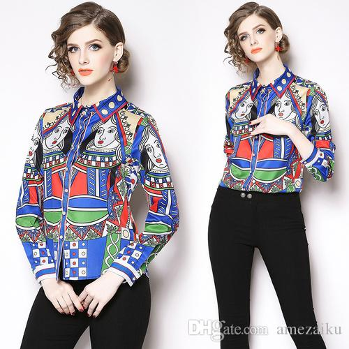13837b90aa5 2019 2019 Autumn Spring Womens Tops Quality Blouses Long Sleeve Baroque  Pattern Print Chiffon Blouse OL Work Wear Blusas Ladies Office Shirt From  Amezaiku