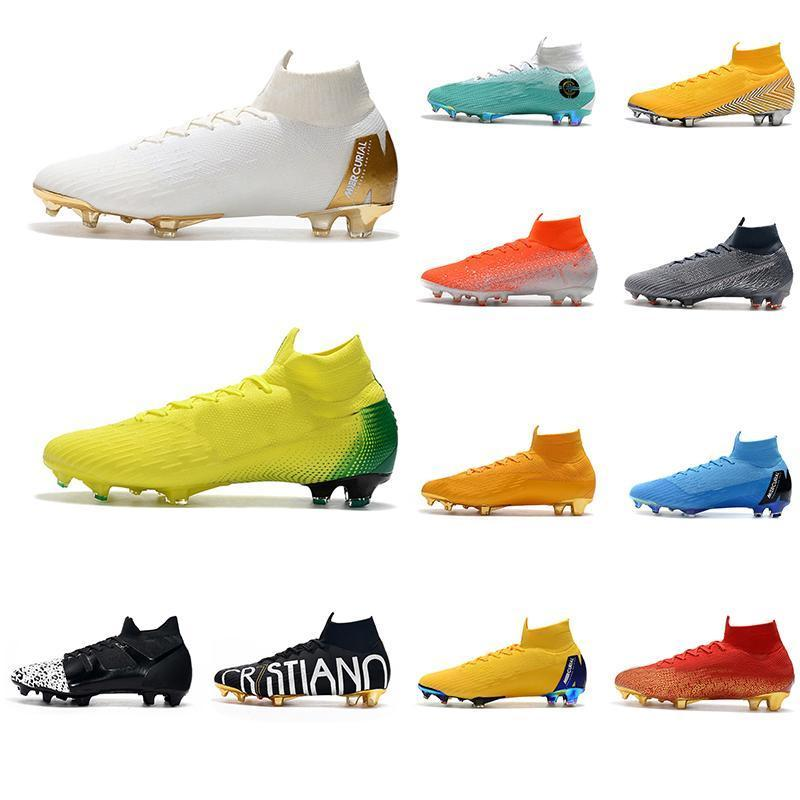 Designer 2019 Mens Football Boots Mercurial Superfly Vi 360 Elite Fg Soccer Cleats Cr7 Youth Outdoor Soccer Shoes Size Us 6.5-11