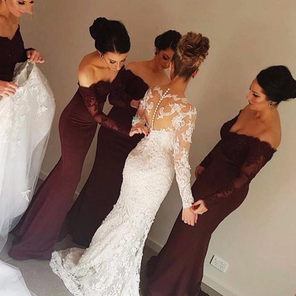 3217dc05b4b 2016 Burgundy Mermaid Bridesmaid Dress Off The Shoulder Sheer Long Sleeve  Appliques Bridesmaid Dresses Cheap Evening Party Gowns Bridesmaid Dress  Sale ...