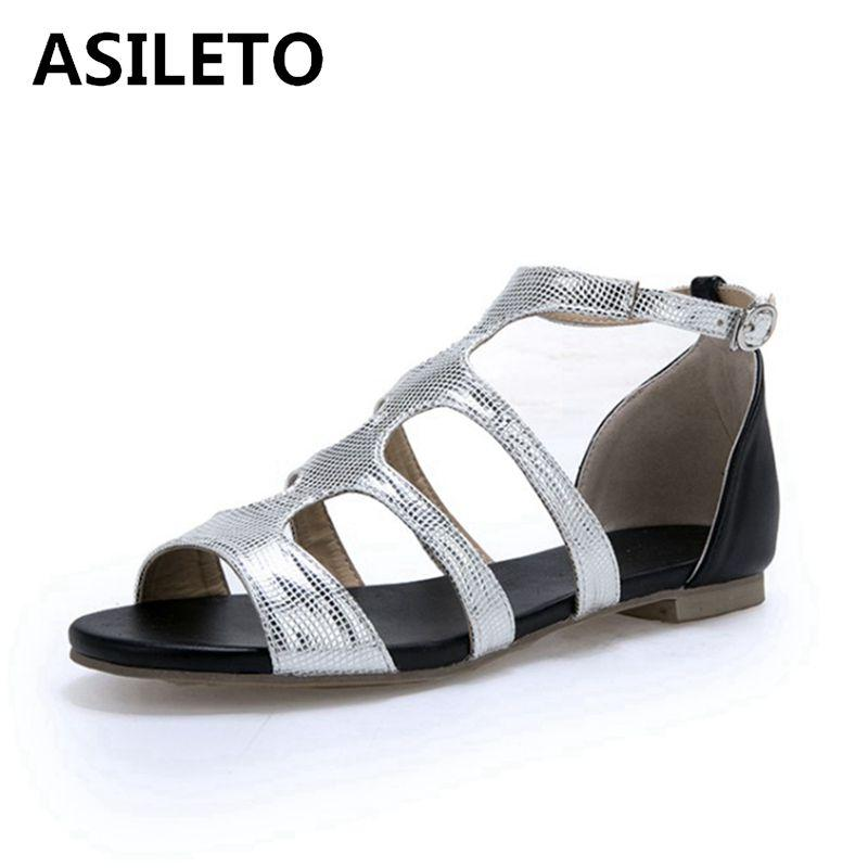 49b801564d54 ASILETO Plus Size 33 47 New Flat Sandals Women Gladiator Flat Heels Summer  Shoes Woman Open Toe Roman Sapatos Sandalia Gold 214 Silver Wedges Brown  Wedges ...