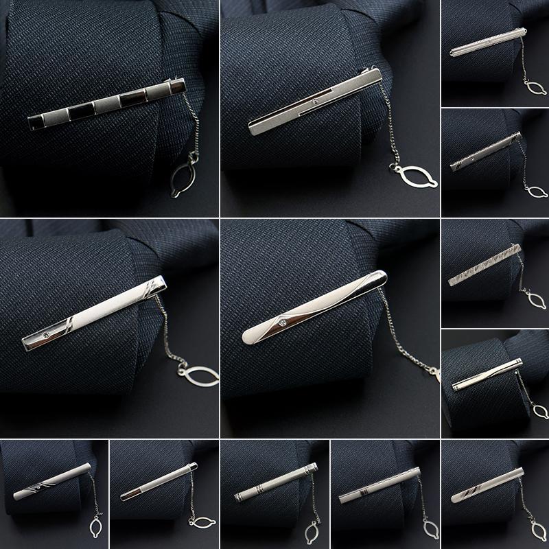 Fashion Style Tie Clip For Men Exquisite Rhinestone Pave Silver Metal Simple Bar Clasp Business Suit Necktie Clasp Brand