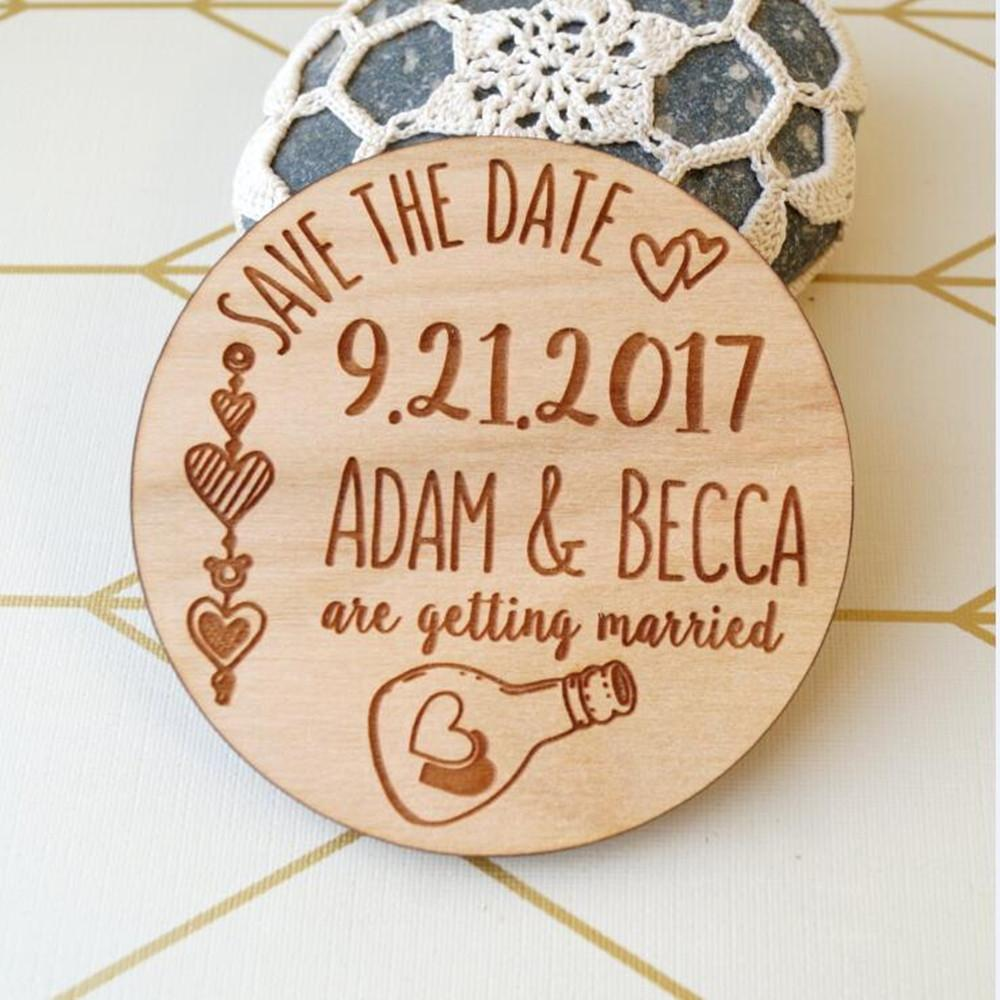Personalized Wooden Wedding Favor Save The Date Magnet Custom Bride