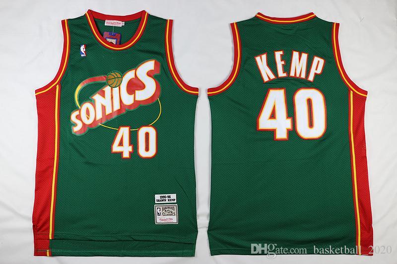 wholesale dealer 2b812 4366c Retro Seattle 40 Shawn Kemp Green Authentic Mesh Jersey Mens  1995-96Supersonics Mitchell & Ness Hardwoods Classics Retro Basketball  Jersey