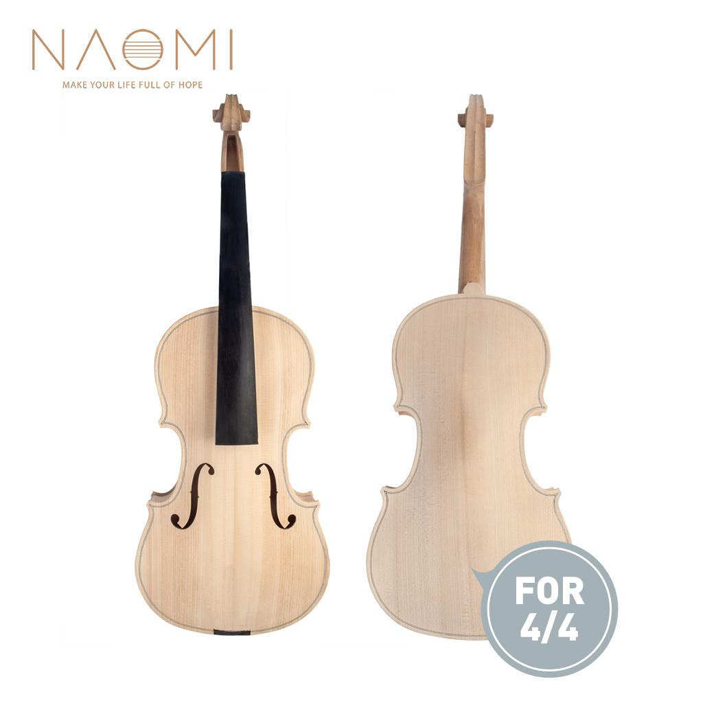 NAOMI 4/4 Unfinished Violin 4/4 Full Size Violin Maple Body with Ebony Fingerboard New