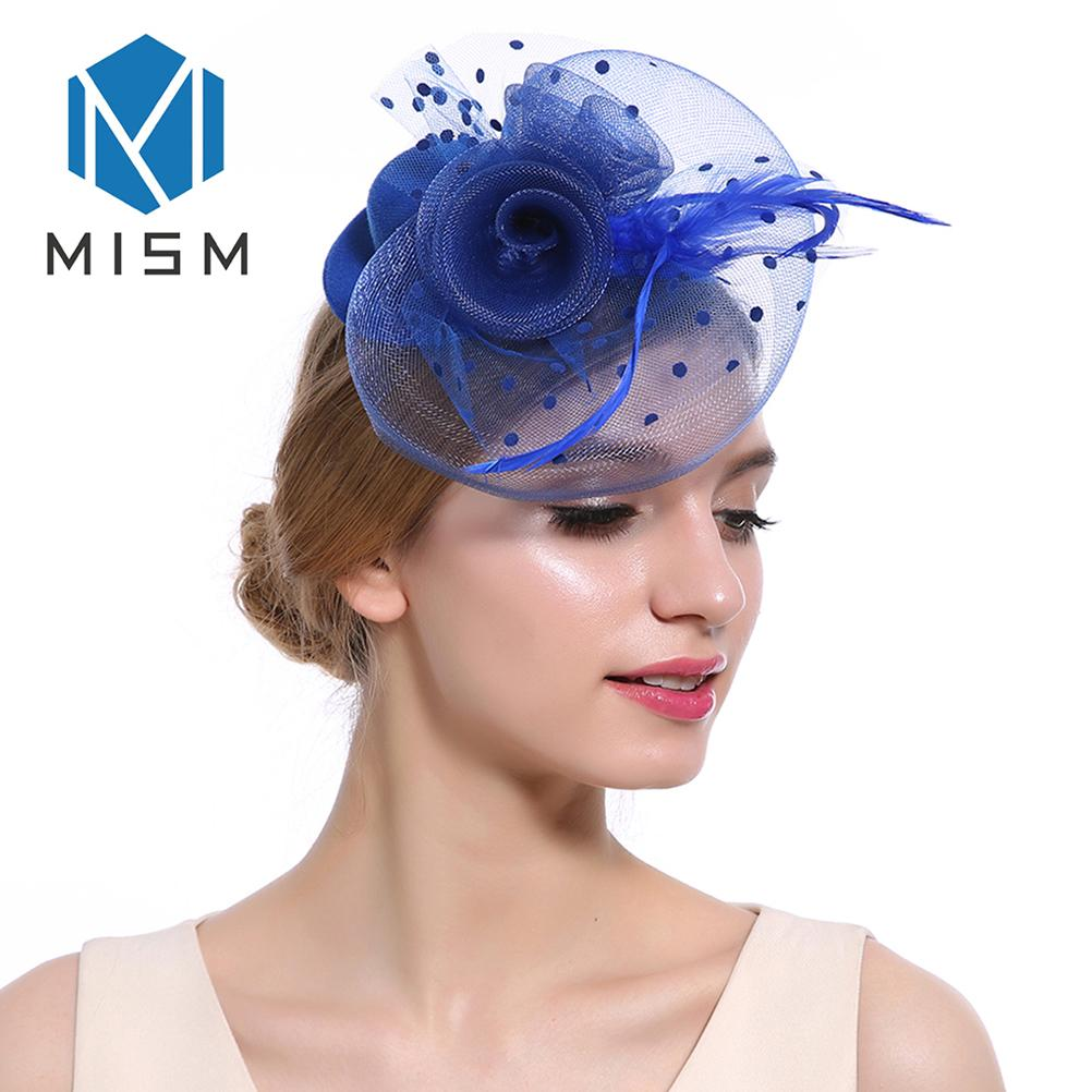 1c924f52435b2 M MISM Women Wedding Fascinator Hat Hair Clip Mesh Veil Dot Feather Hair  Bands Hoop Accessories Retro Elegant Alligator Headwear Hair Accessories  For Ladies ...