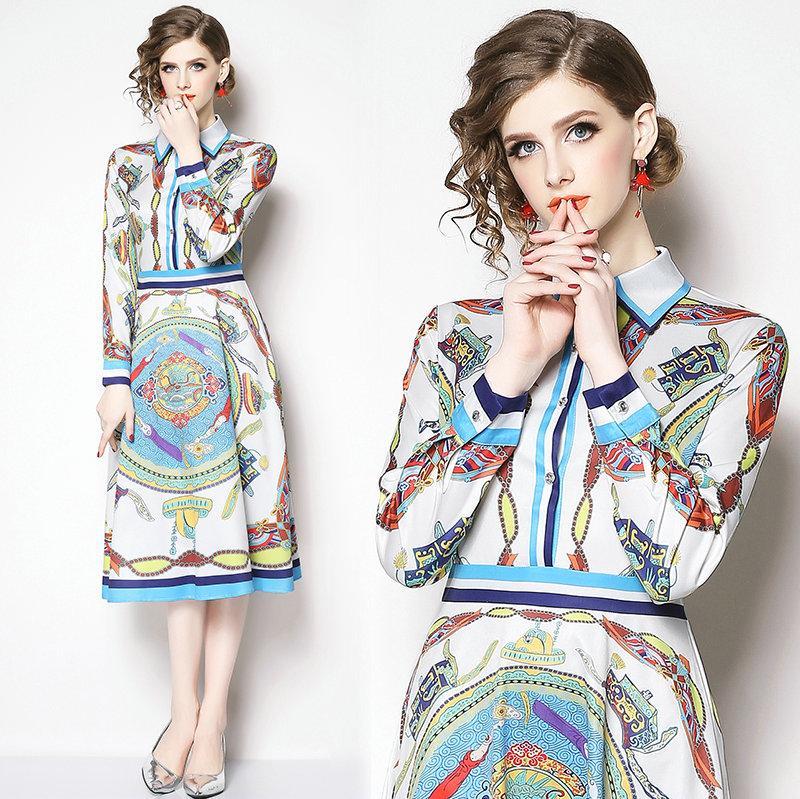Fashion New Printed Womens Dress Lapel Long Sleeve Shirt Dress 2019 Spring  Dresses Ladies Office Dresses Dinner Prom Dresses Spring Autumn Dress Work  Dress ... d13f28080434