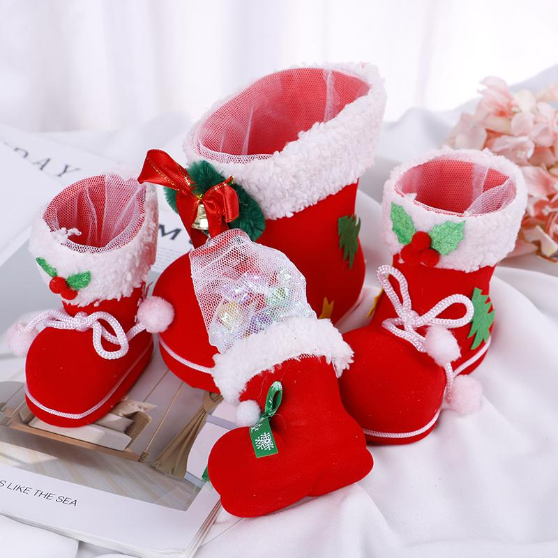 Hot New Merry Christmas Gift Santa Boot Shoes Hanging Candy Gift Bags Xmas Tree Navidad Chrismas Decor Noel Enfeites De Natal DA