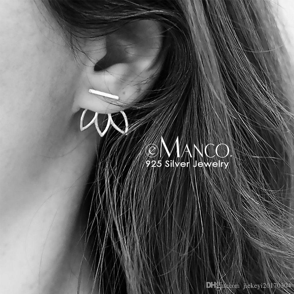 6312ff1740a82 e-Manco Lotus Silver Stud Earrings 925 Sterling Silver Simple Earring Gifts  For Women Geometric shapes Individuality Fine Jewelr