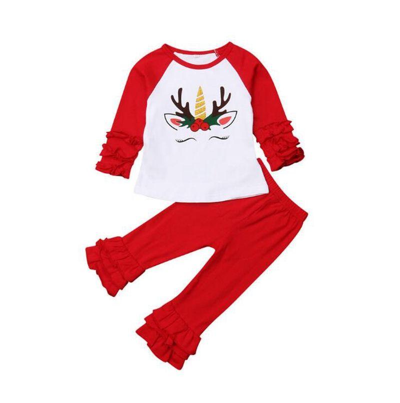 b1c42a8cd 2019 Christmas Baby Girls Clothes Set Xmas Elk Unicorns T Shirts Red ...