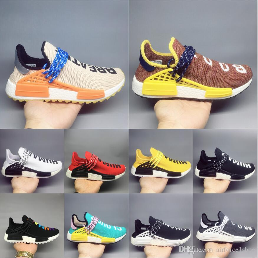16a5df9a0b268 2019 Human Race Casual Shoes Pharrell Williams Hu Trail Oreo Nobel Ink Black  Nerd Designer Sneakers Men Women Sport Shoes 36 47 Ladies Shoes Loafers For  Men ...