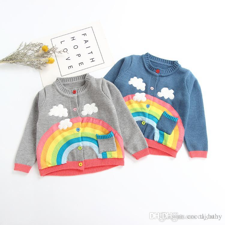 new 2018 Autumn Winter baby girls rainbow clouds sweater kids clothing knitting cardigan long sleeve children tops jackets