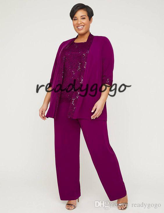 three Piece Lace Gala Pant Suit 2019 Plus Size Fuchsia Lace Chiffon Custom Make Mother Of the Bride Groom Suit Set