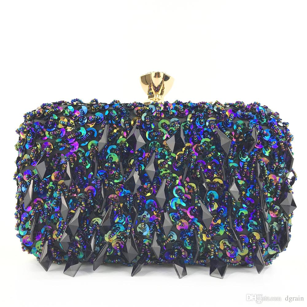 24c575d304 Sparkling Diamond Evening Clutch Bag Multi Color Bridal Wedding Sequin Handbag  Clutches Crossbody Bag Chain Purse Wedding Party Cocktail Bag Clutches  Online ...