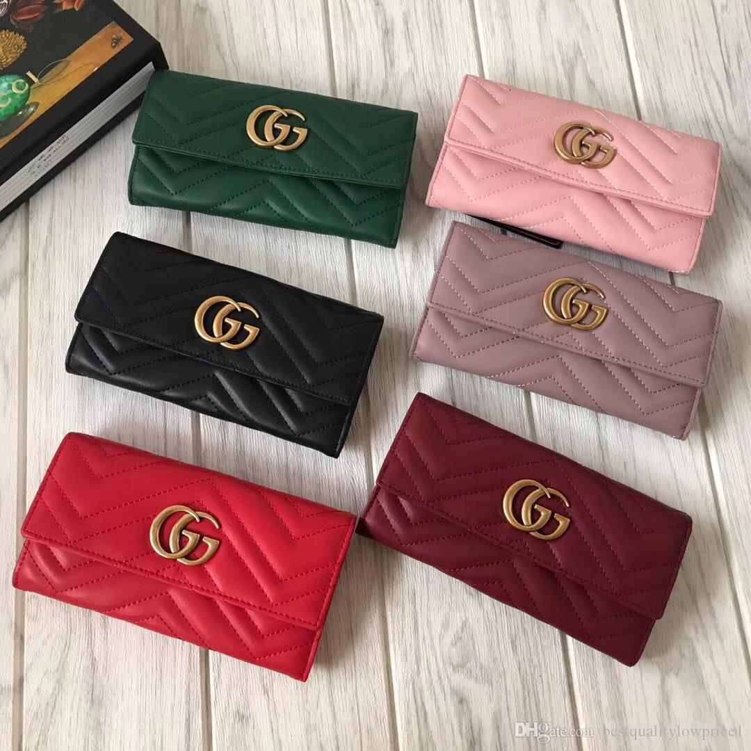 91f78adfbd4 2019 Women Designer Genuine Leather Wallet Famous Brands Bee Purse Ladies  Long Leather Wallet Luxury Female Tri-color Bag Online with  45.51 Piece on  ...