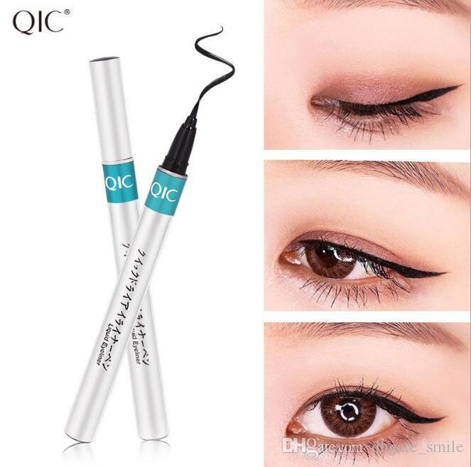 Dropshipping QIC Brand Silver Tube Extreme Liquid Black Eyeliner Waterproof  Makeup Beauty Eye Liner Pencil Pen Makeup Tools