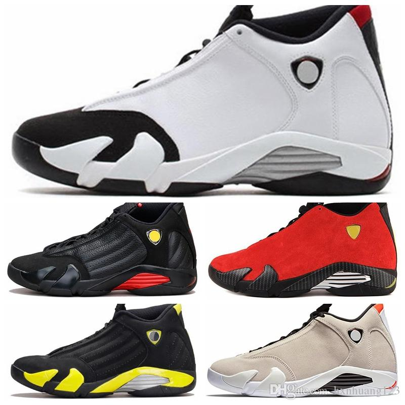best authentic 90e49 26b52 Nike Air jordan 14 Retro AJ AJ14 XIV Hombres Zapatos al aire libre Arena  del desierto DMP Último tiro Indiglo Trueno Rojo Gamuza oxidada Candy Candy  ...