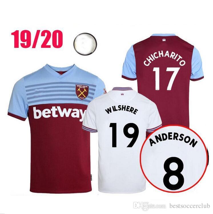 save off 6e581 b0760 19 20 West Ham soccer jersey United 2019 2020 home away NOBLE CHICHARITO  jerseys ANDERSON ARNAUTOVIC ANTONIO football shirt uniforms kit