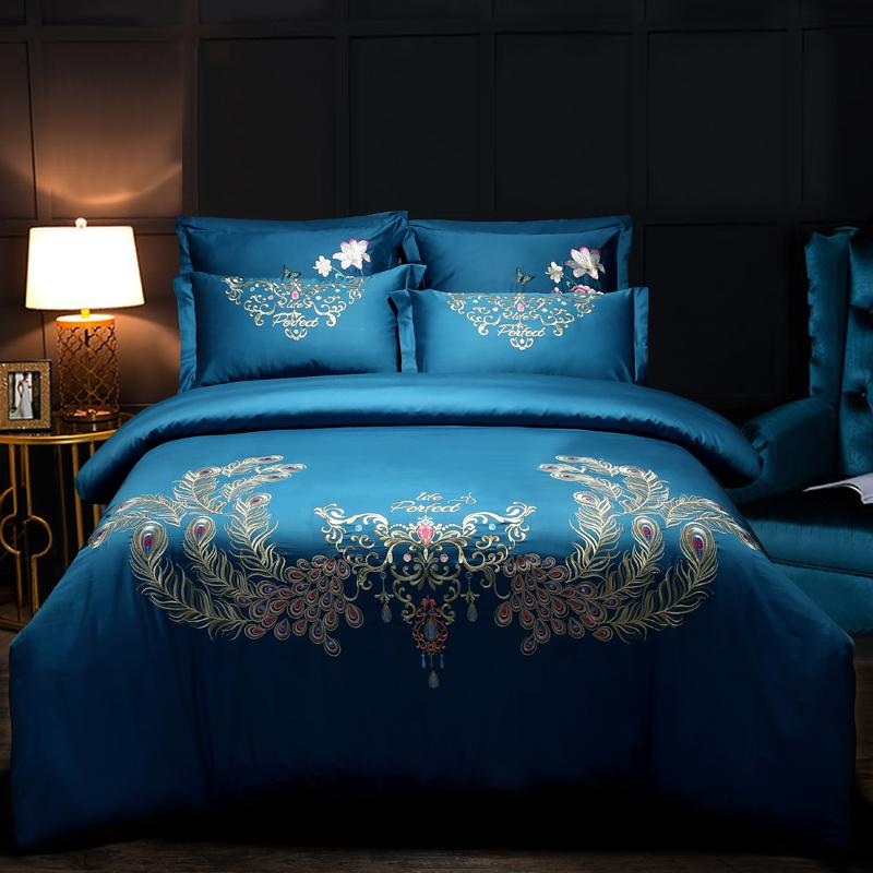 ee4714244f66 Luxury 60S Egypt Cotton Peacock Feathers Bedding Set Embroidery Duvet Cover  Set Bed Sheet Pillowcases Queen King Size Butterfly Bedding Black And White  ...