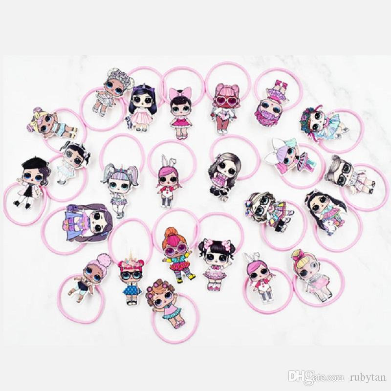 Fashion Lady Hair Jewelry Cute LOL Girl Charm Bandas elásticas para el cabello Pink Hairrope Hairstyle Holder Rubber Band Scrunchies Accesorios para el cabello para niños