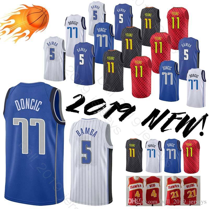 6d3bc884 77 Doncic jersey 5 Bamba jersey 11 Young Retro Hot sale 2019 new men  basketball jerseys