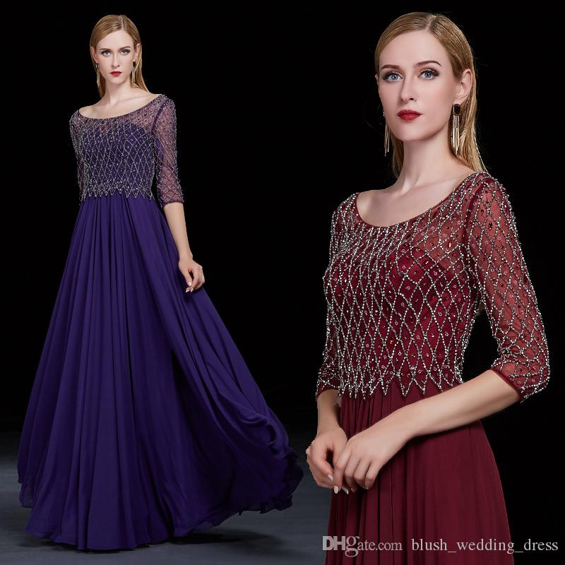 High-Quality Formal Evening Dresses Autumn And Winter Wine Red Word Shoulder Long Sleeves Beaded Party Ballroom Dance Dresses DH093