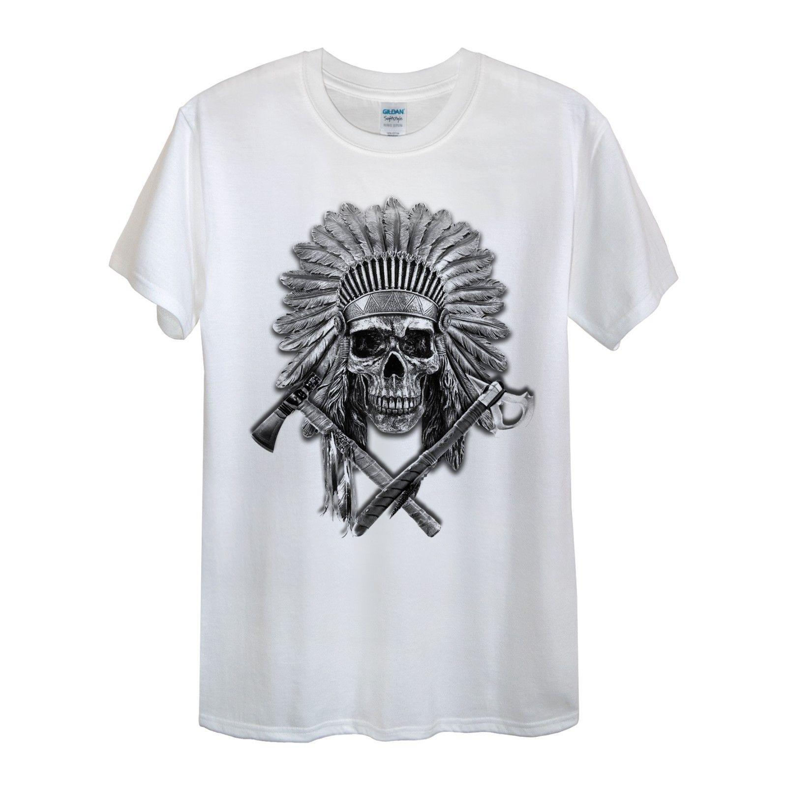 cdc0da3ade Native American T-Shirt Women Unisex Men Tomahawk Chief Skull Bones Tribal  GiftFunny free shipping Unisex Casual top