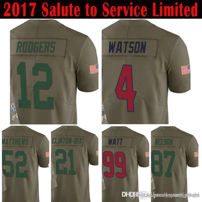 online store 0e05c 35a2d 12 Aaron Rodgers 4 Deshaun Watson 99 J.J. Watt Jersey 2017 Salute to  Service Clay Matthews Jordy Nelson Ha Ha Clinton-Dix Jerseys new