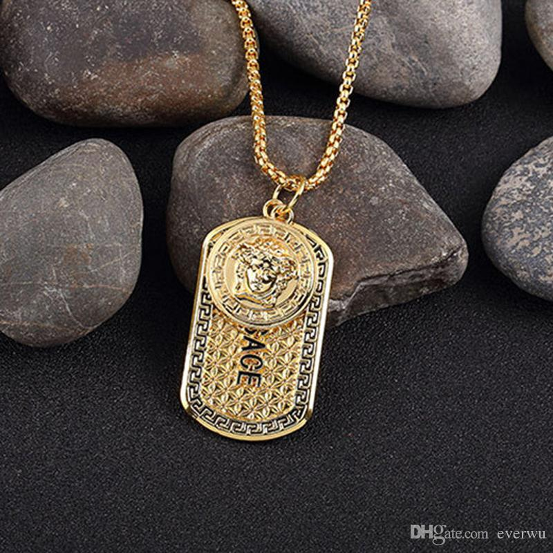 Famous Brand Hiphop Style Gold Plated Medusa Charm Necklace Jewelry Hip-hop Gold Plated Mens Womens Hip Hop Dog Tag Medusa Pendant Necklace